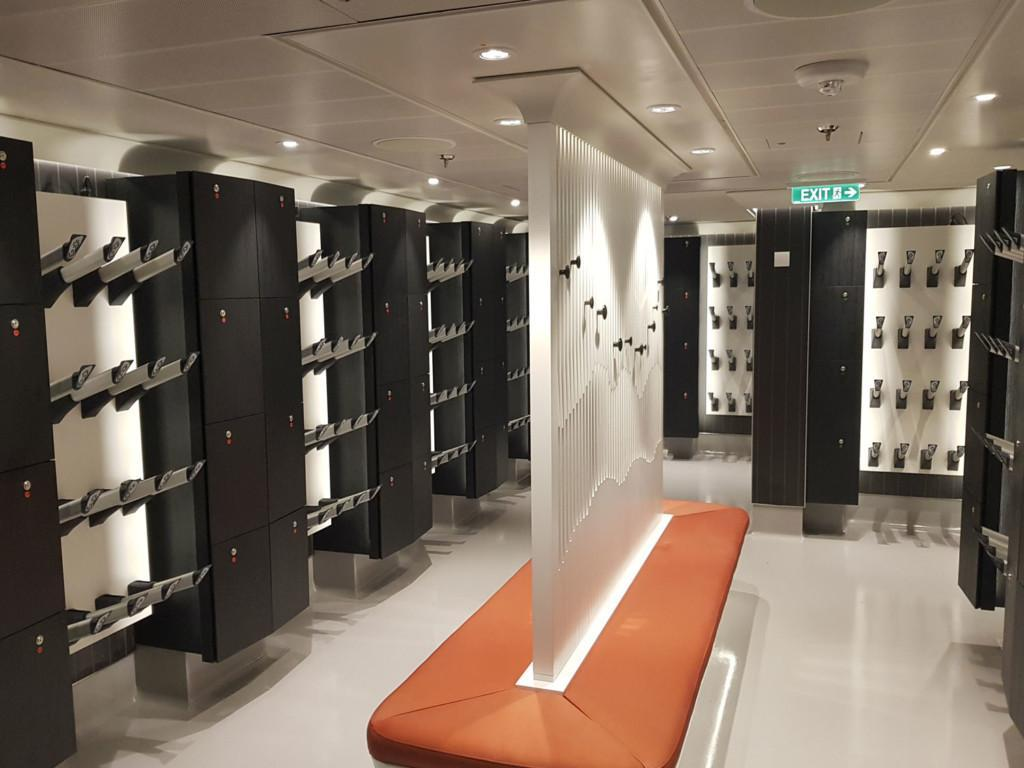 ALMACO completes crew accommodation areas and guest public areas for Crystal Endeavor at MV Werften shipyard - Guest Mudroom (October 2021)